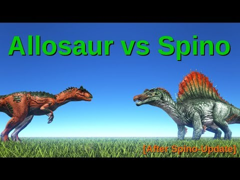 Allosaurus vs Spinosaurus (after update!) || ARK: Survival Evolved