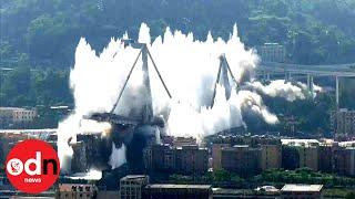 Spectacular demolition of Genoa's Morandi Bridge