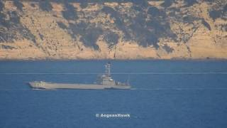 Turkish Navy landing forces passing northbound Chios Strait after exercise Efes 2018 end.