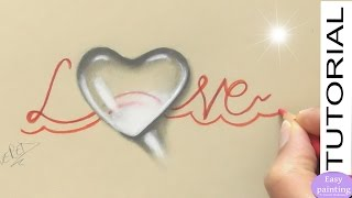 How to draw a WATER DROP Heart Shaped. Valentine´s Day Trick Art realistic Droplet