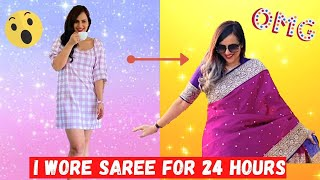I wore a SAREE for 24 HOURS (Funny Public Reactions)