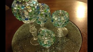 D.I.Y Glass Beads Candle Vases   Goodwill & Dollar Tree 🌳