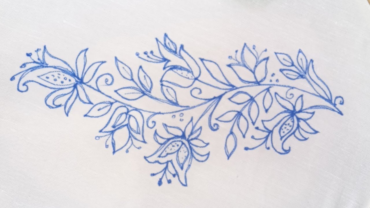 New easy hand embroidery designs 20 Beautiful borderline Embroidery for  dresses