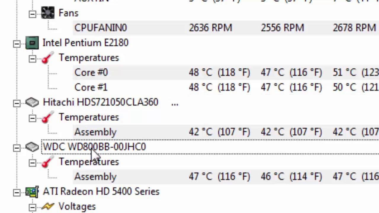 شرح : برنامج : HW Monitor : لقياس درجة الحرارة لكل قطع الحاسوب وحالة خطورة  القصوى