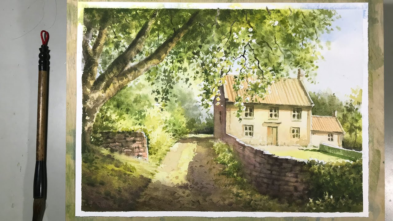 Watercolor Painting - The Old Mass House in Egton