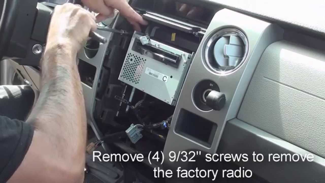 maxresdefault how to remove factory stereo ford f150 2009 and up youtube 2011 f150 radio wiring harness at webbmarketing.co