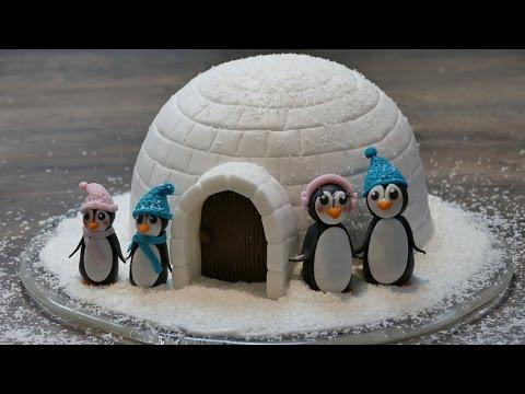 Iglu Motivtorte mit Pinguinen |  Weihnachts-Motivtorte von Nicoles Zuckerwerk