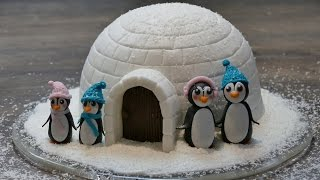 Iglu Motivtorte mit Pinguinen    Weihnachts-Motivtorte von Nicoles Zuckerwerk