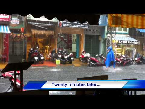 Travel in Vietnam: Rainy Season Flooding on Bui Vien Street in Ho Chi Minh City (Saigon), Vietnam