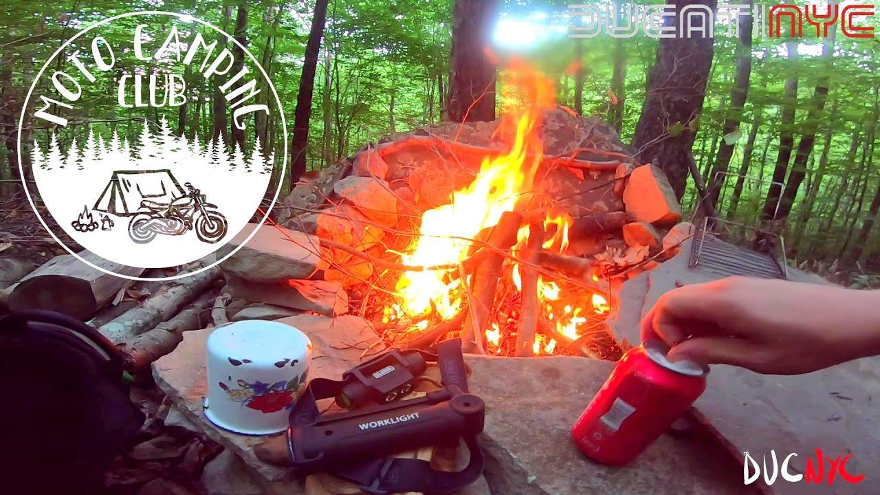 chainsaw and big fire, DARK night - Solo Ducati Moto Camping in the Catskill Mountains ASMR v1272