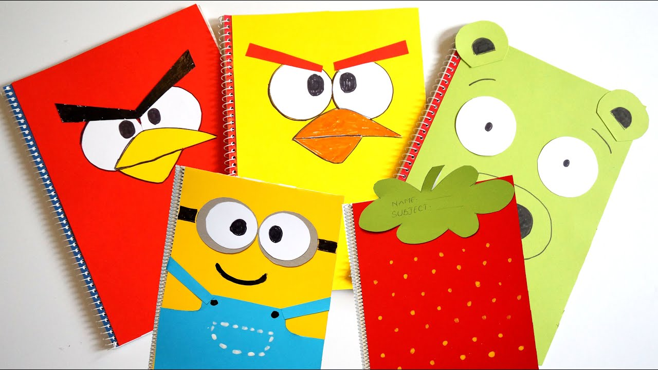 Five notebook covers compilation diy minions strawberry for Back to school notebook decoration ideas