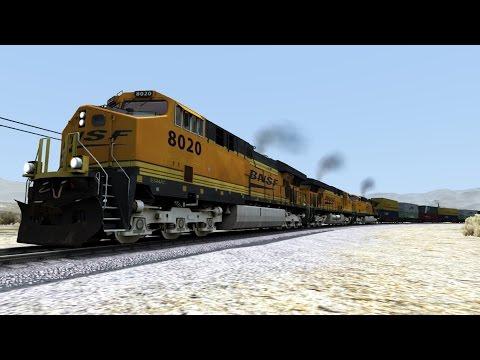 TS2015 HD: BNSF GE ES44C4 Lashup Hauls 70 Car Intermodal Double Stack Freight Train Over Cajon Pass
