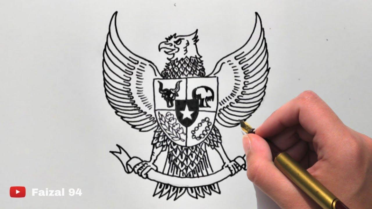 Tutorial Cara Menggambar Burung GARUDA PANCASILA Mudah Ditiru Gaeeeessss