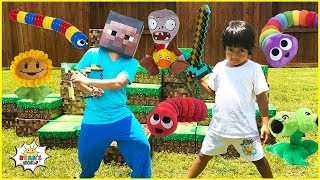 Ryan Pretend Play with Slither.io, Minecraft, Plants vs Zombie, and Roblox In Real Life!!!