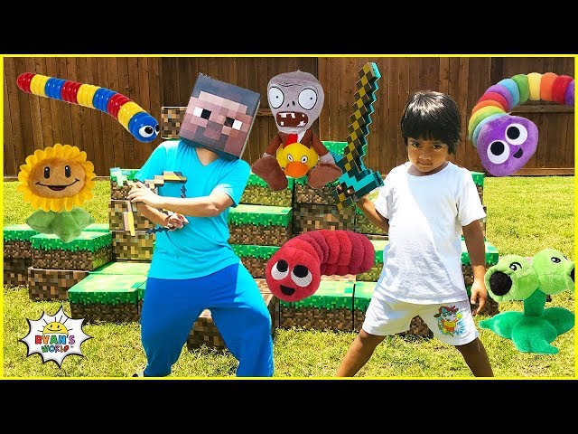 Ryan Toy Review Roblox Zombie Rush Ryan Pretend Play With Slither Io Minecraft Plants Vs Zombie And Roblox In Real Life Youtube