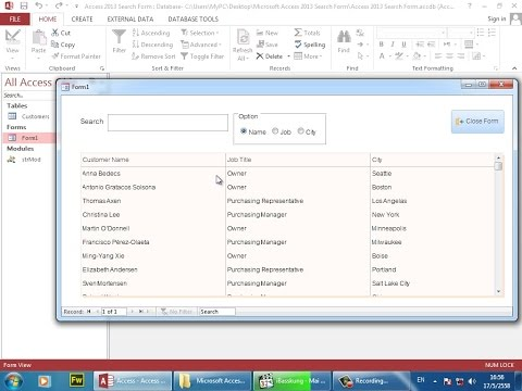 Microsoft Access 2013 VBA Programming : How to Create Search Form