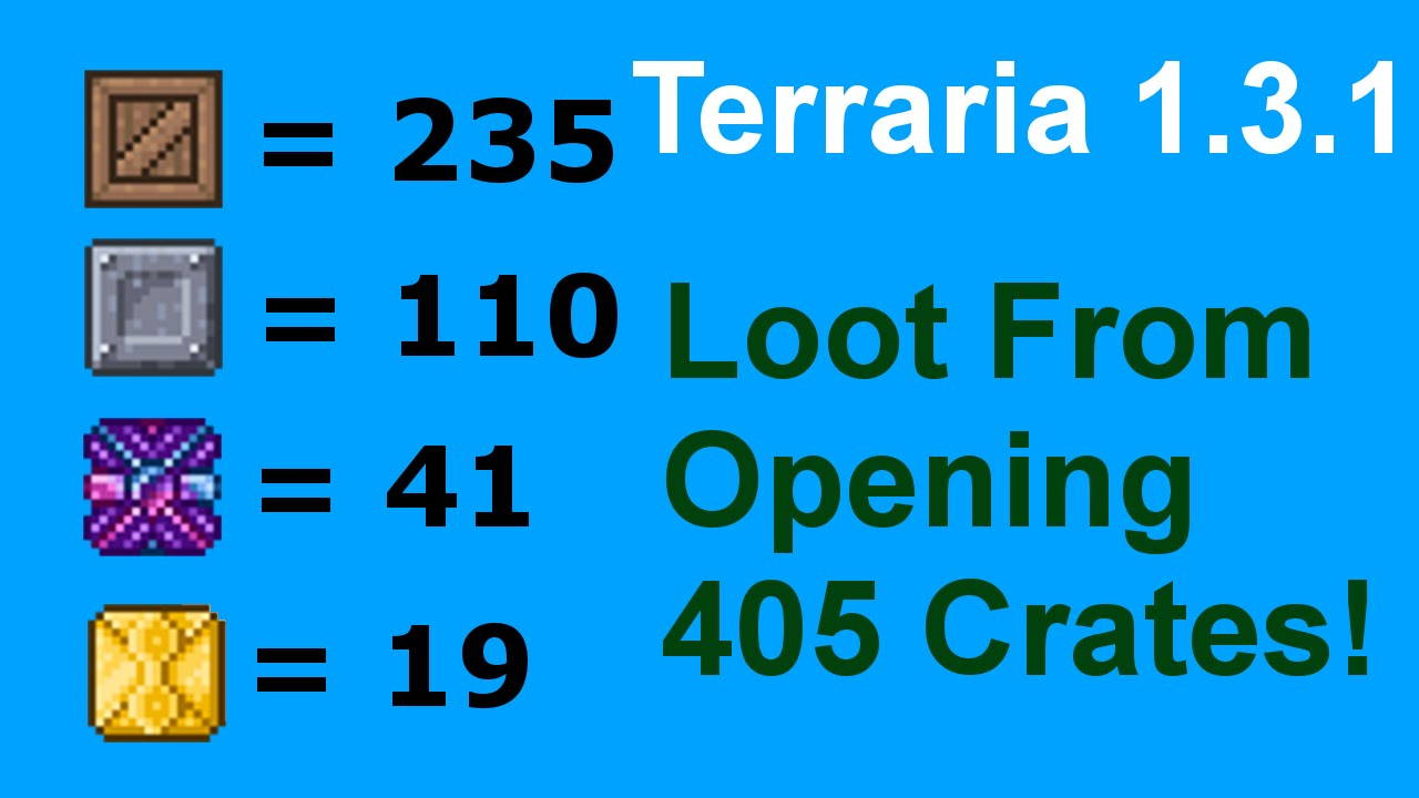 Loot From Opening 405 Crates In Terraria