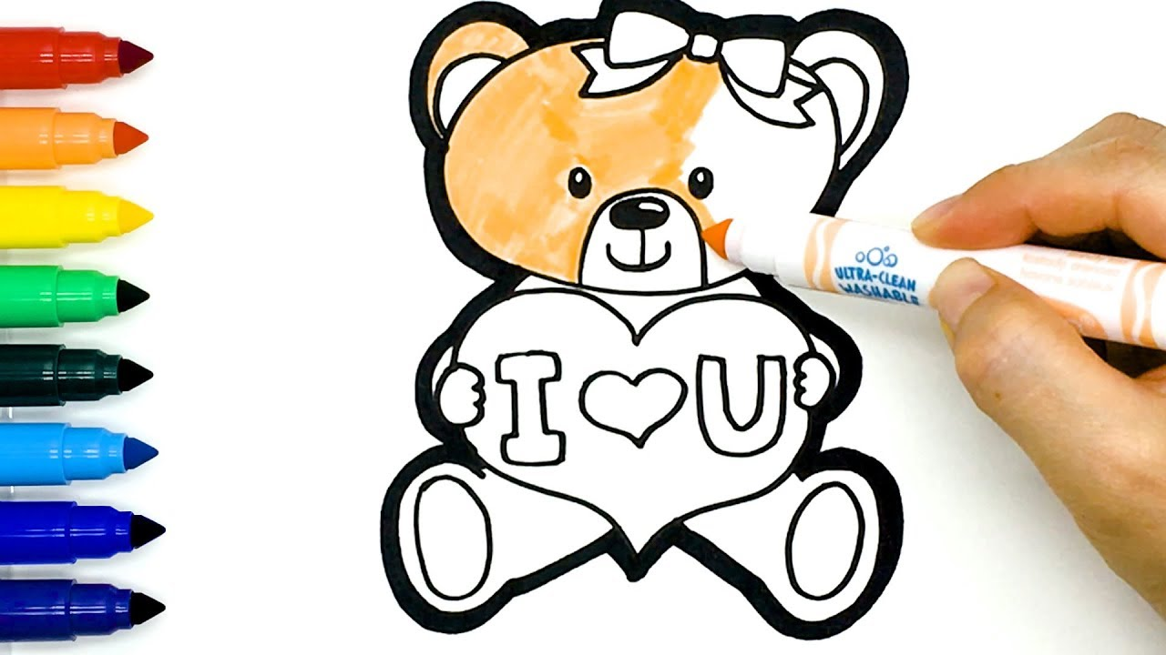 Cute Teddy Bear holding a Heart Drawing and Coloring Easy ...