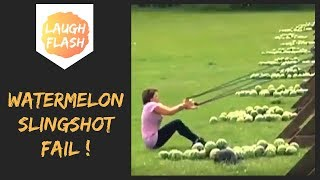 Epic Watermelon Slingshot Fail 😂😳 Ouch!