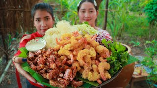 Crispy Shrimp Cooking Dried Rice Noodle Recipe - Cooking With Sros