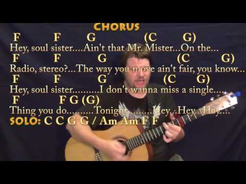 Hey Soul Sister (Train) Strum Guitar Cover Lesson with Chords/Lyrics - Capo 4th