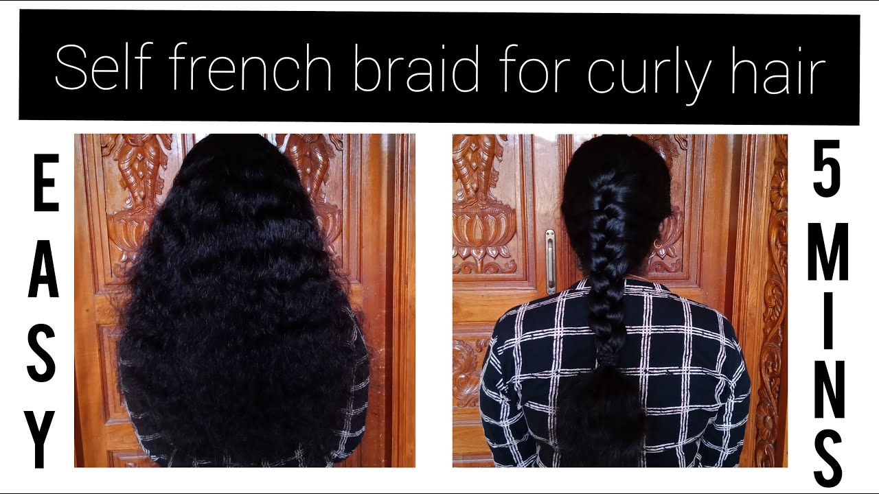 Self French Braid Hairstyle for Curly Hair//Easy & Quick Hairstyle//Susee Blogs - YouTube