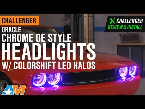2008-2014 Challenger Oracle Chrome OE Style Headlights W/ ColorSHIFT LED Halos Review & Install