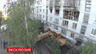 Спасатели работают в разрушенной от взрыва газа пятиэтажке Видео с квадрокоптера   Tелеканал «100 ТВ