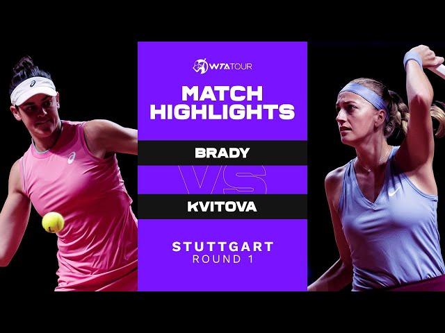 Jennifer Brady vs. Petra Kvitova | 2021 Stuttgart Round 1 | WTA Match Highlights