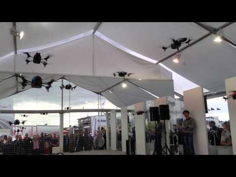 Parrot AR Drone 2 Dance Demo - Paris Air Show  2013 + Crash