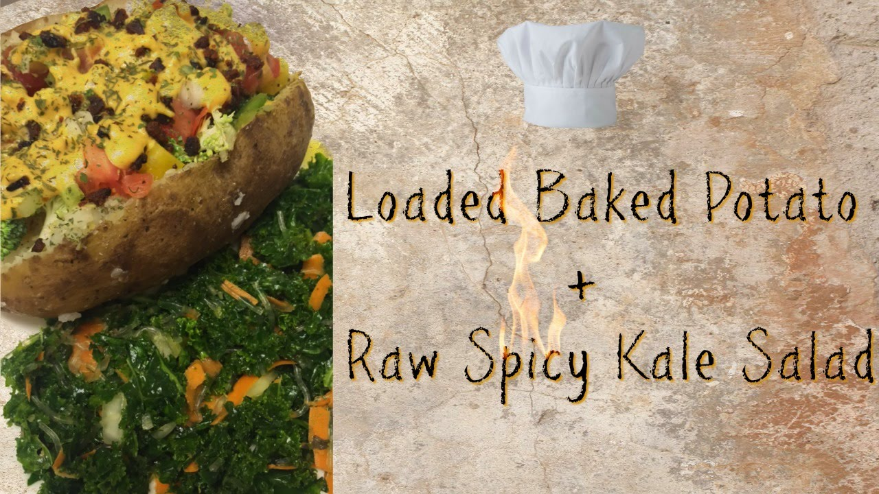 Vegan Loaded Baked Potato Raw Spicy Kale Salad