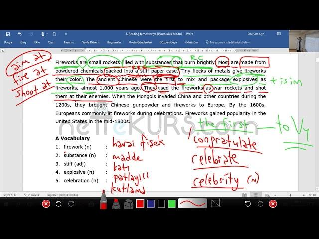 YÖKDİL TIPDİL YDS YKS ingilizce Kelime Çalışması -4 (Reading for Exams)