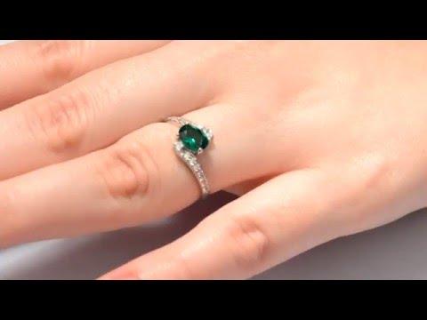 Кольцо из серебра с изумрудом нано Лилия ПДК87НИ