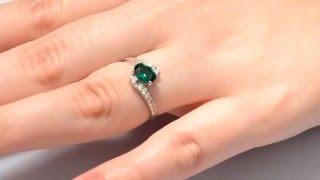 Кольцо из серебра с изумрудом нано