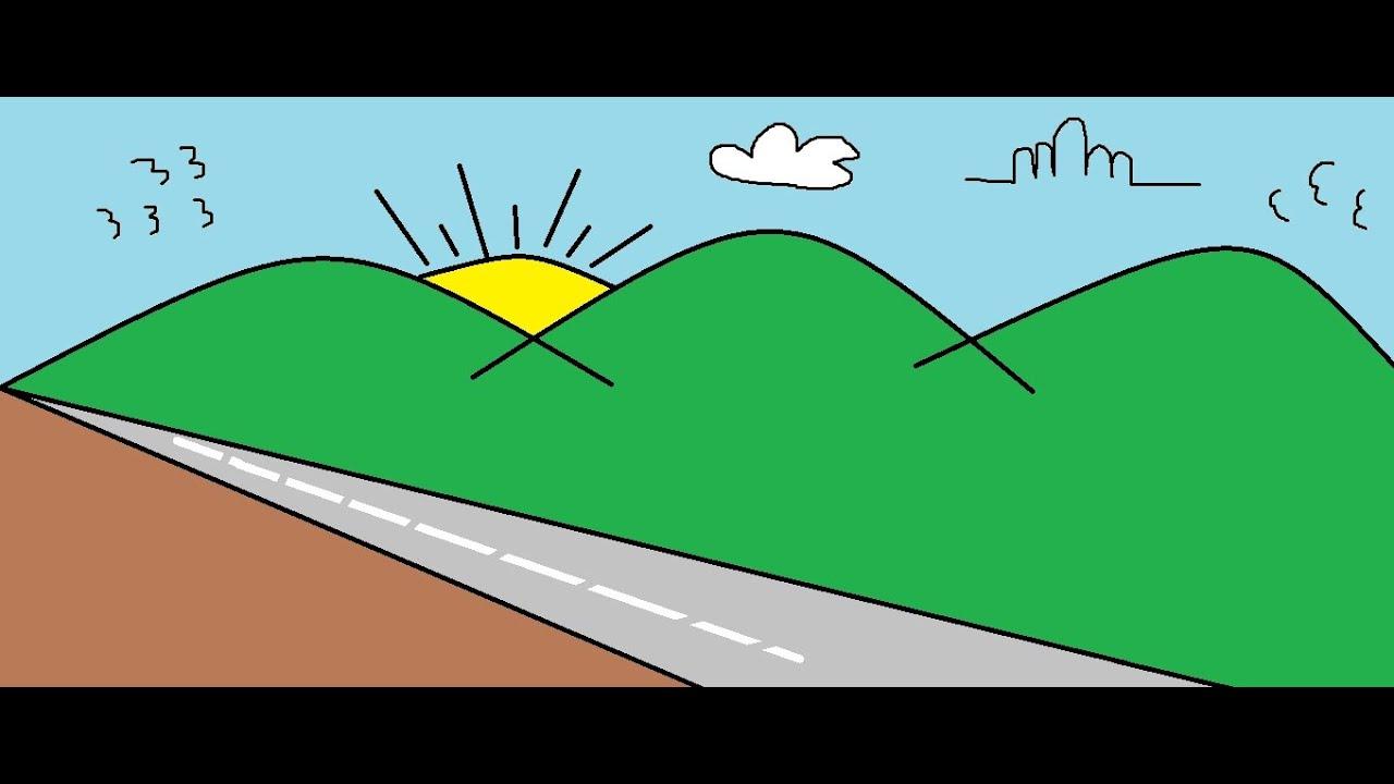 Menggambar Pemandangan Dengan Paint - YouTube