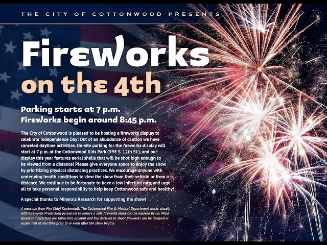 Inside Cottonwood - Cottonwood Fireworks on the 4th!