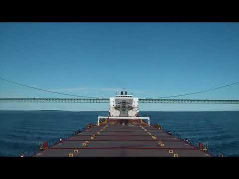 Vessel Sailing on Straits of Mackinac