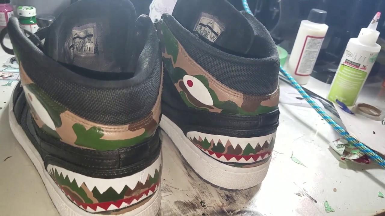 402693e0c1c Custom Jordan 1 Bapes - YouTube