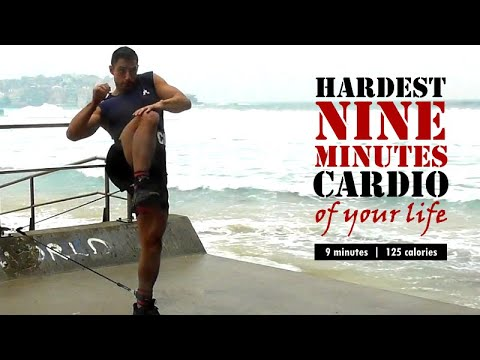 9 minutes NON-STOP cardio workout with optional resistance bands