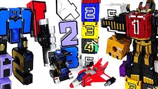 vuclip Number 12345 transformation combine robot vs Power Rangers Zyuohger number cube - DuDuPopTOY