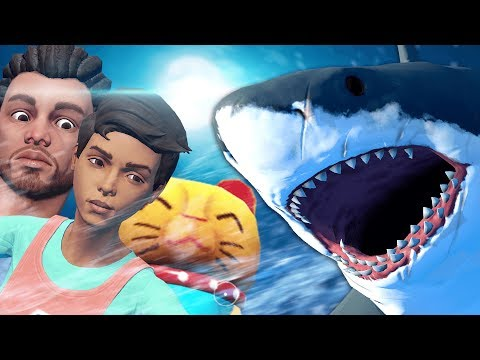 COURAGEOUS FAMILY TAKES ON HUGE SHARK! WILL THEY WIN?! - Raft Multiplayer Gameplay