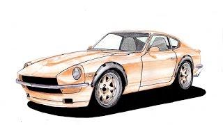 Datsun 240z - Drawing Evolution - Homenagem à Yutaka Katayama