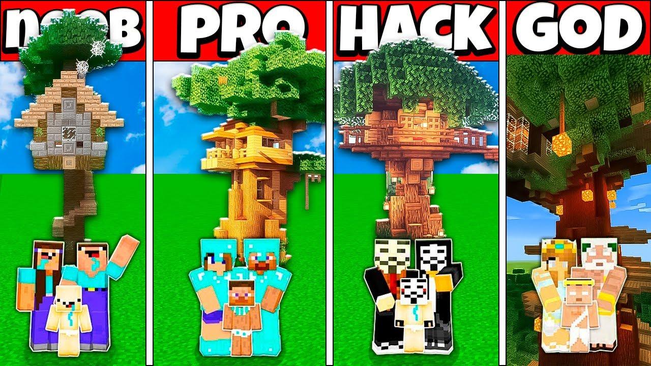MODERN TREE BASE HOUSE BUILD CHALLENGE - NOOB vs PRO vs HACKER vs GOD Minecraft Animation