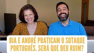 Que mico! Bia e André praticam o sotaque português