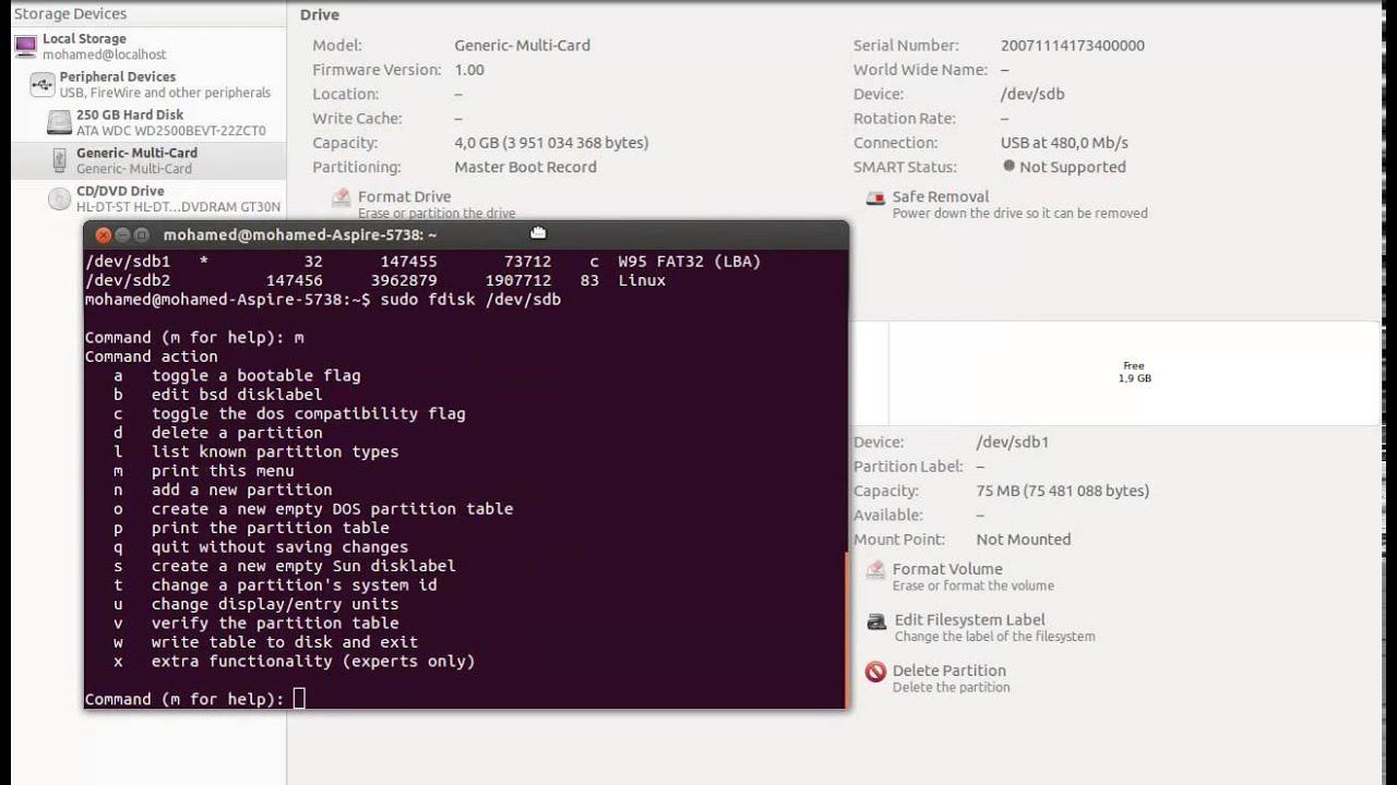 reformate SD card using terminal On ubuntu