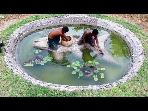 Build Stone Fish Pond Full Video