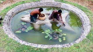 Build Stone Fish Pond Full Video