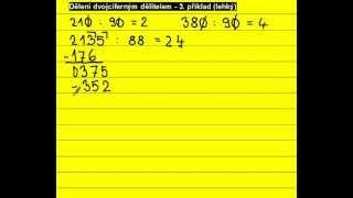 Písemné dělení dvojciferným dělitelem ... 2135 : 88