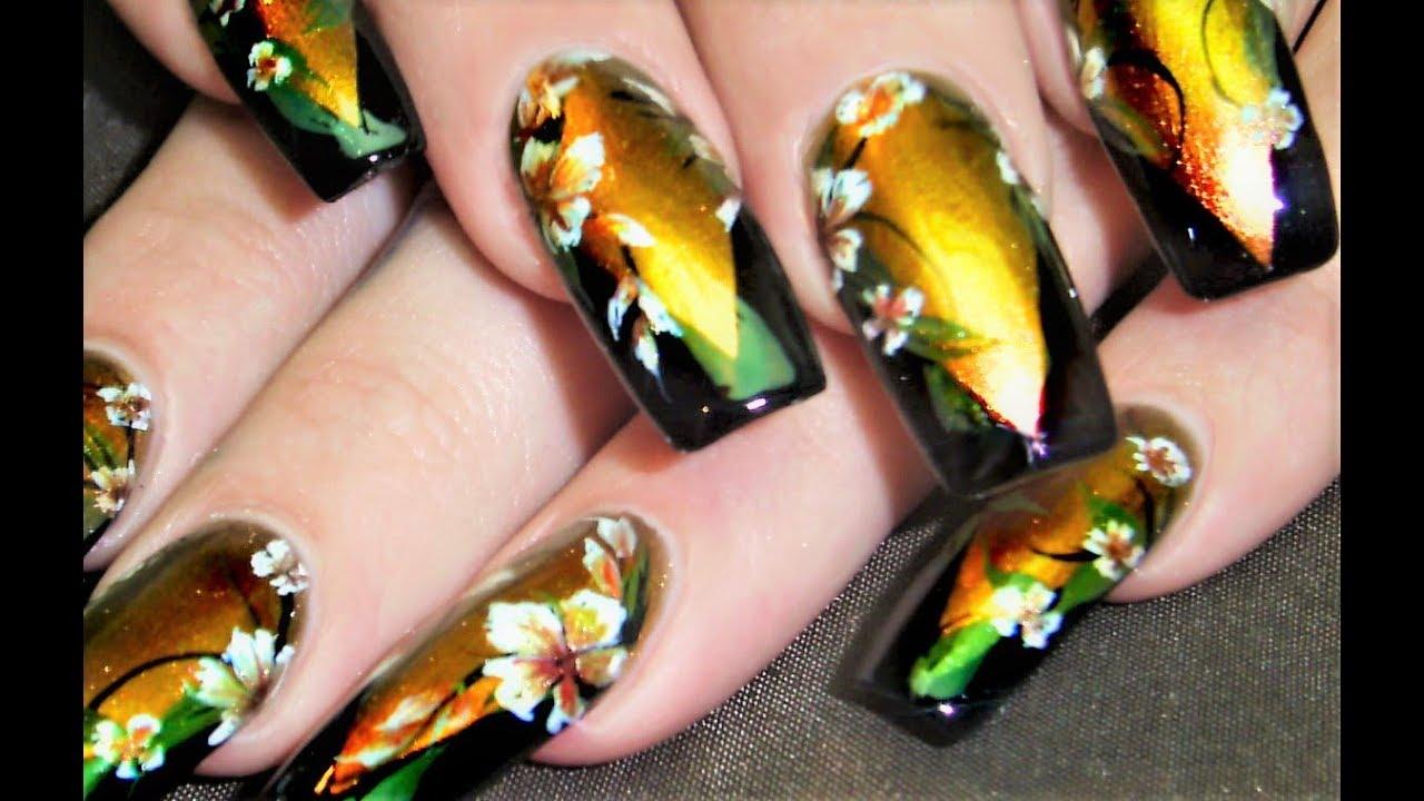 Black And Gold Nail Art On Louboutin Polish White Flower Nails