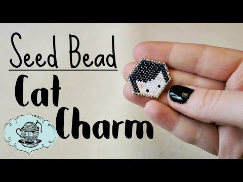 DIY Cat Charm Badge Seed Bead Brick Stitch // Bead Weaving // ¦ The Corner of Craft